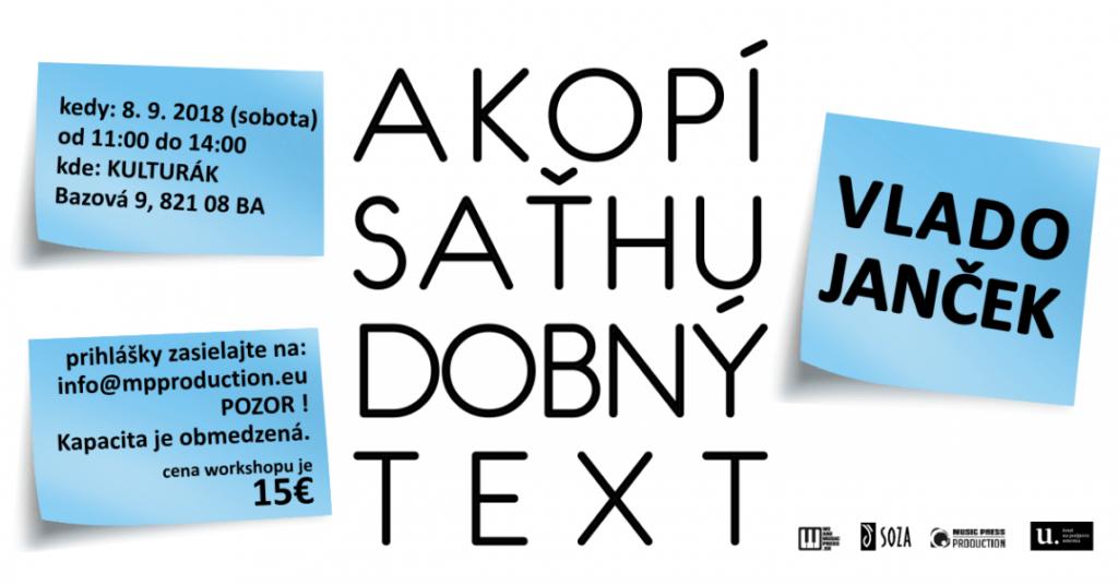 Ako písať hudobný text - Vlado Janček